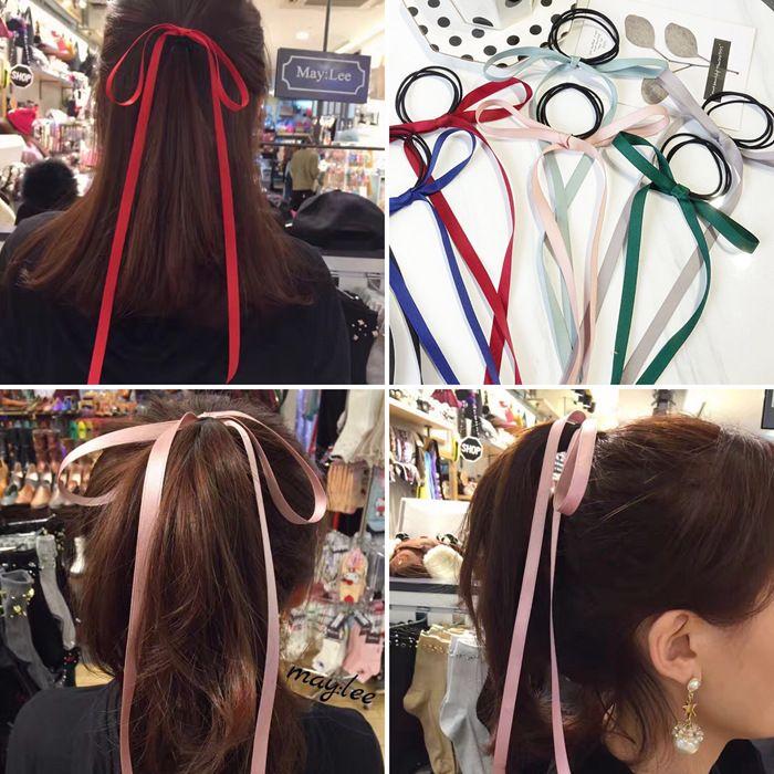 wind simple temperament, hair velvet bow long ribbon headwear hair accessories