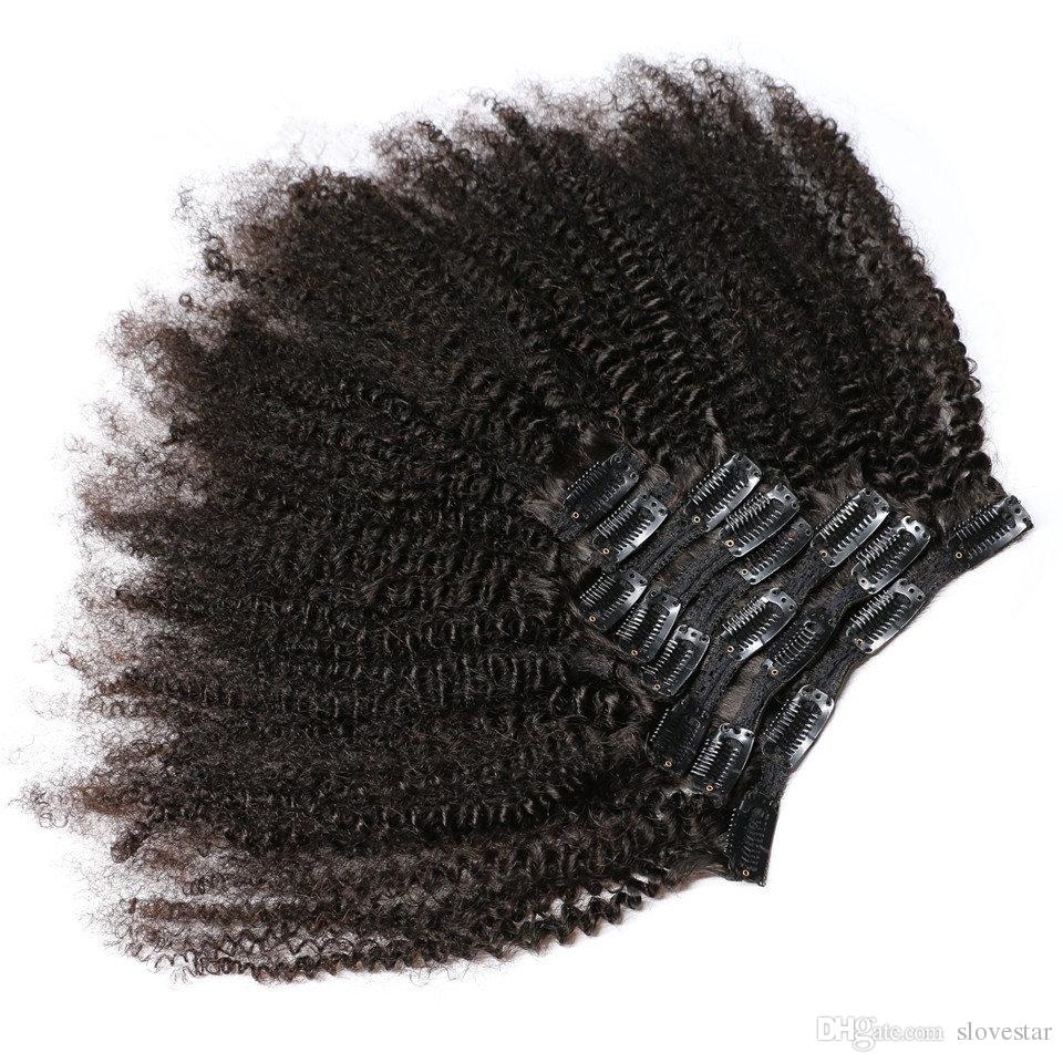 Afro Kinky Curly Clip in Human Hair Extensions Natural Black Full Head Brazilian Remy Hair Clip ins Free Shipping