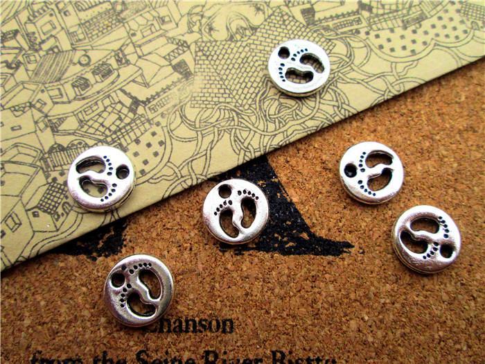 90pcs - Bebek Ayaklar askı, Antik Tibet gümüş 2 kolye 11x11mm Bebek Ayaklar Charms taraflı