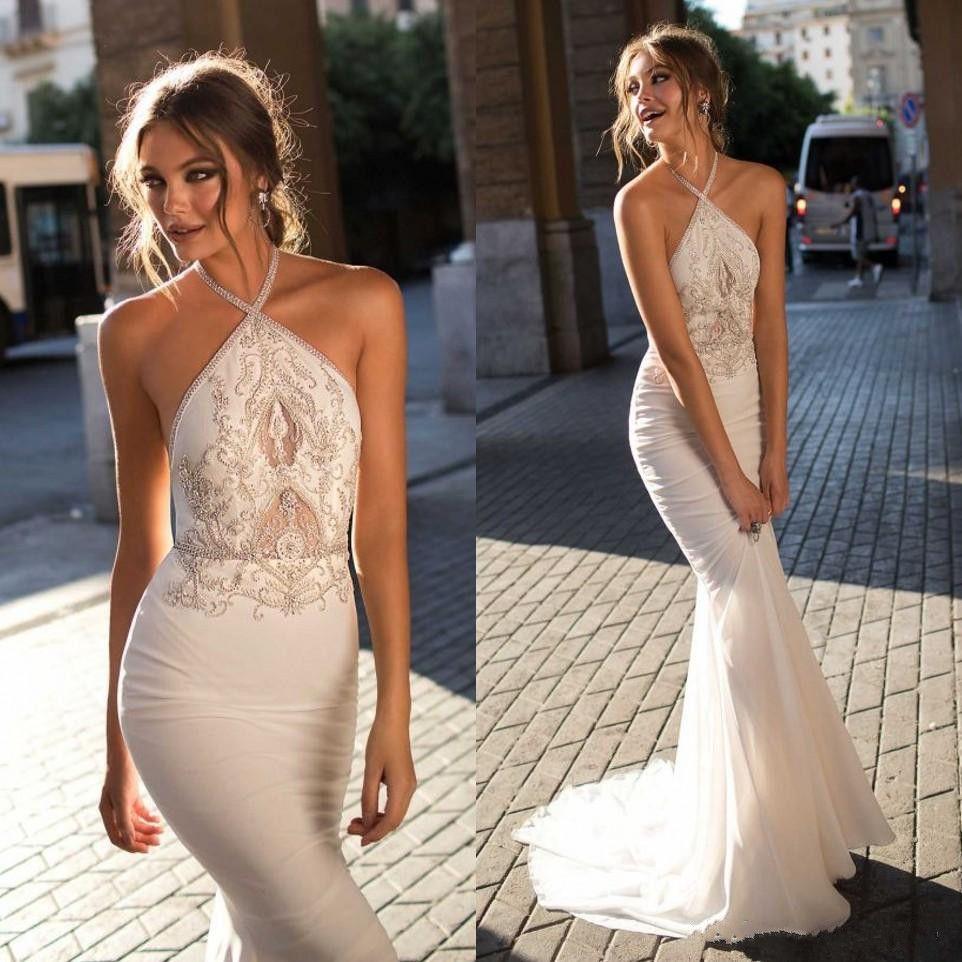 2019 Berta Bohemian Backless Wedding Dresses Halter Neck Mermaid Beaded Bridal Gowns Cheap Sweep Train Trumpet Sleeveless Wedding Dress