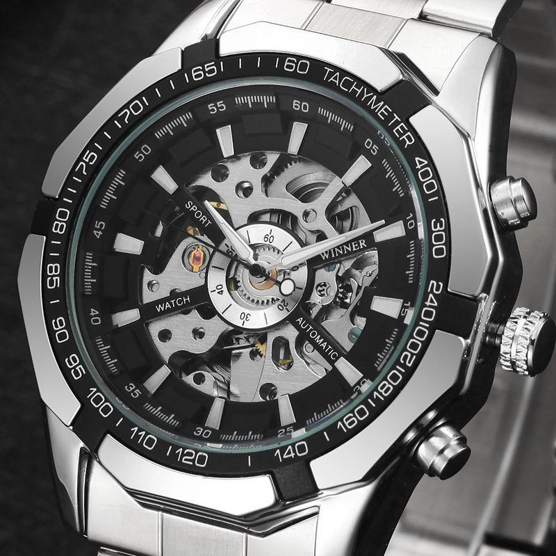 Winner Brand Men Full Stainless Steel Watch Men Skeleton Auto Mechanical Watch Self-Wind Male Dress Clock Relogio Masculino Y1892103