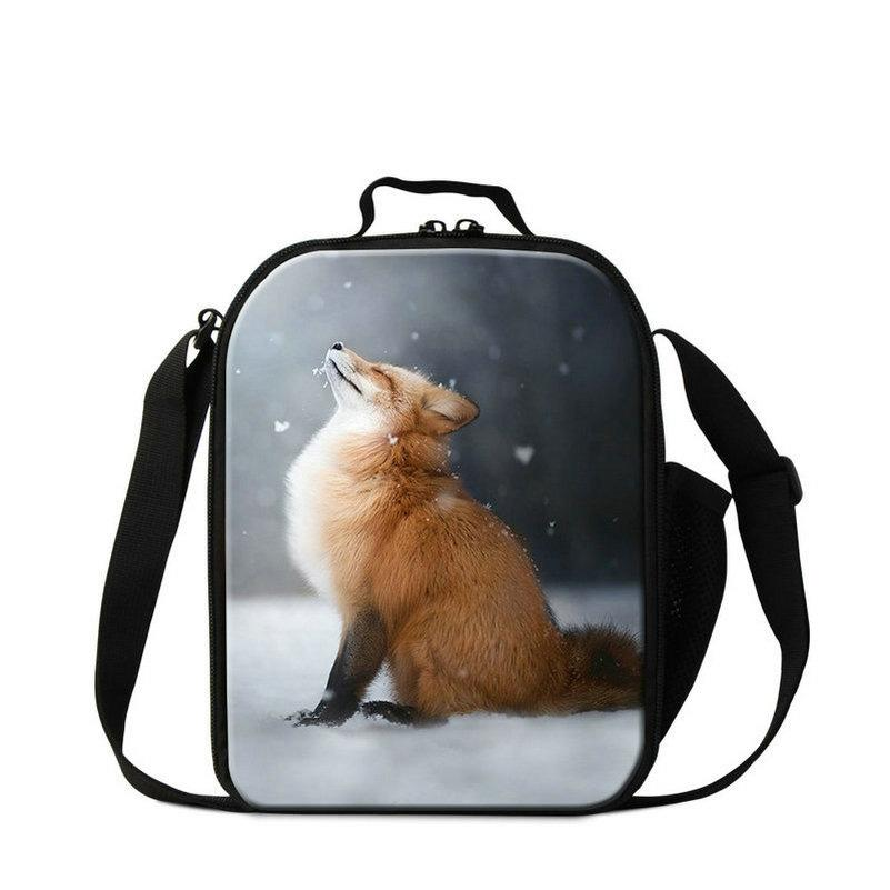 Personalized 3D Fox Cool Thermal Lunch Cooler Bag Tote Picnic Food Bag For Little Baby Kids Junior School Boys Lunchbox With Water Pocket