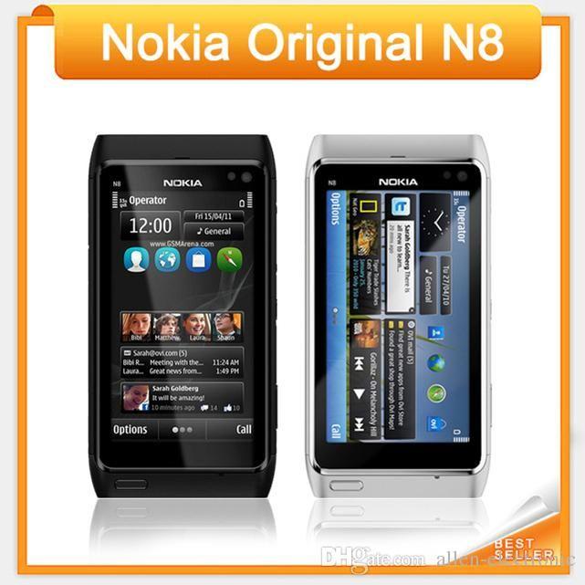 """Teléfono original Nokia N8 reacondicionado de 3.5 """"con pantalla táctil capacitiva Cámara de 12 MP 3G desbloqueado teléfono celular Nokia N8"""