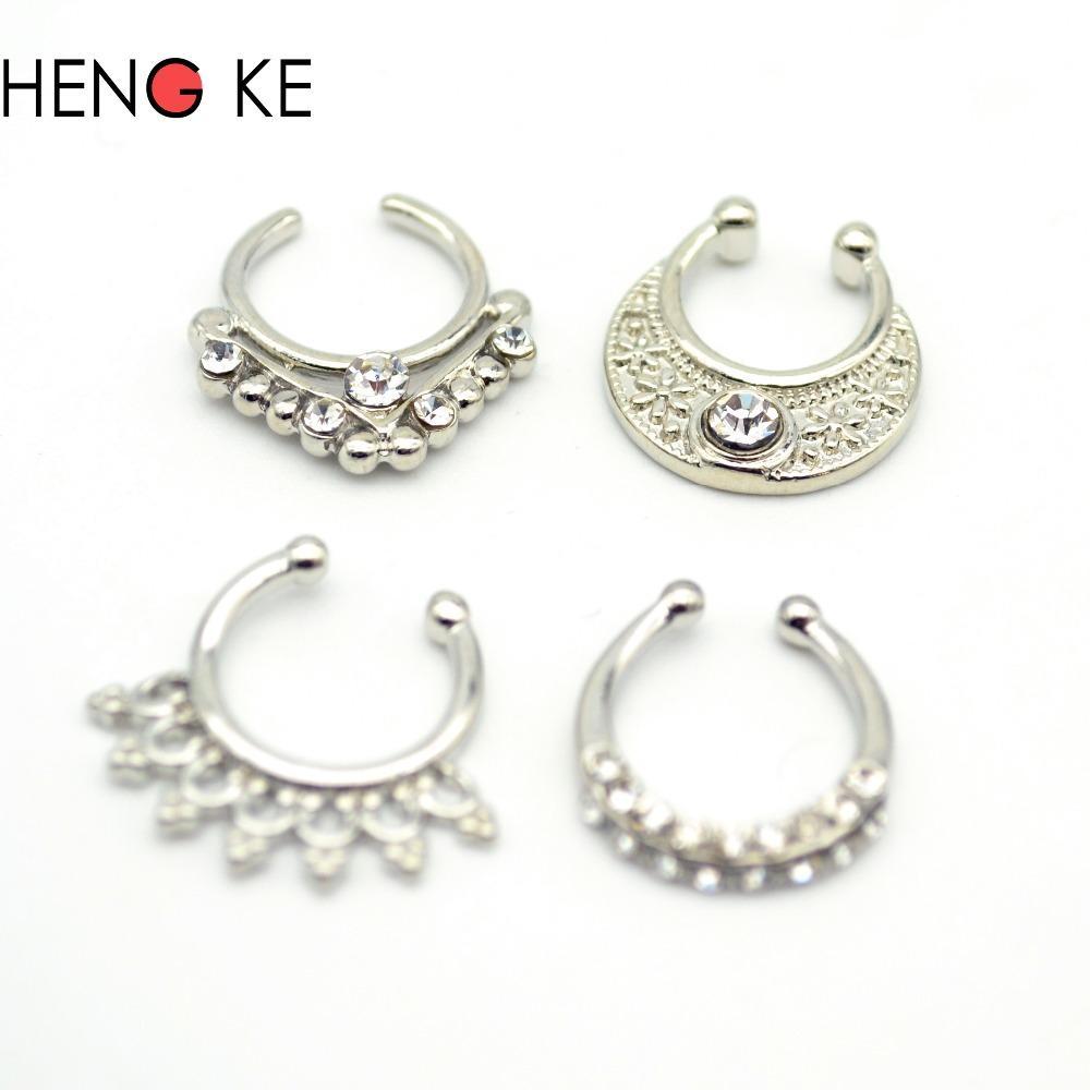 Women Fake Septum Pierced Jewelry Clicker Crystal Clear Gem Rhinestone Trendy Nose Rings Hoop Body Piercing Jewelry Copper