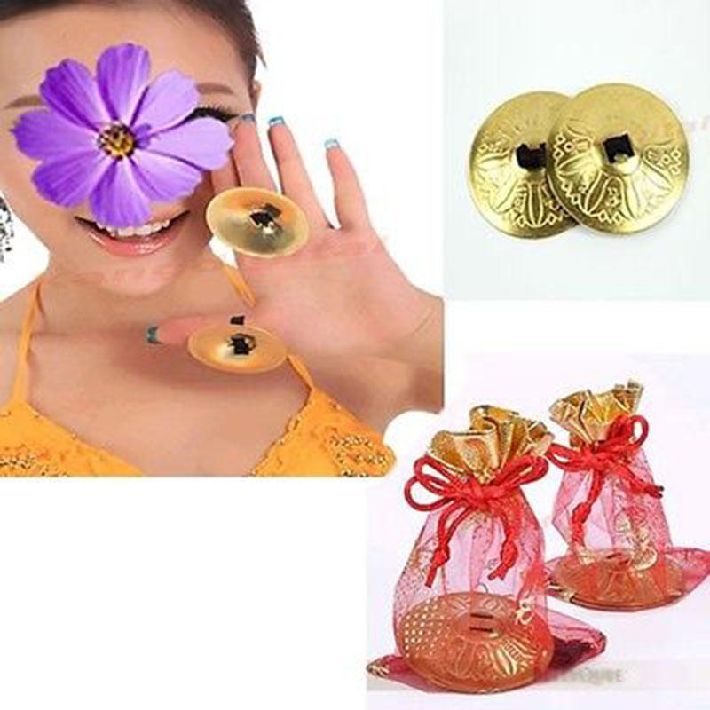 Happy Will 4 Pcs Alloy Belly Dance Finger Cymbals Finger Zills with Stylus