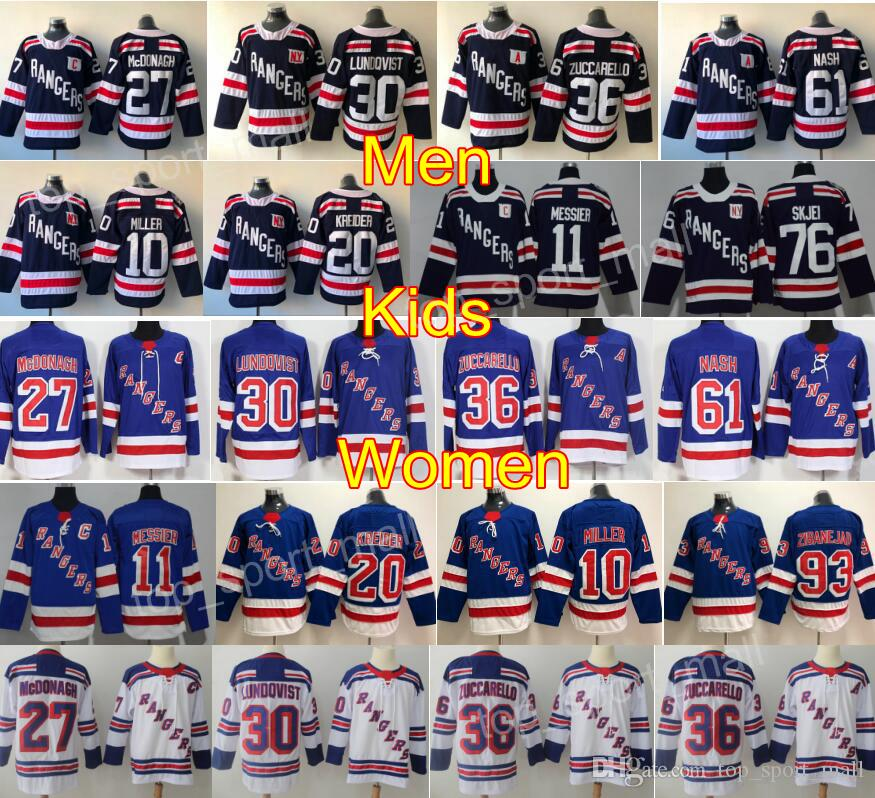 2018 Winter Classic New York Rangers Hockey 10 Jeff Miller Jersey 11 Mark Messier 20 Chris Kreider 76 Brady Skjei Mika Zibanejad Blu Bianco