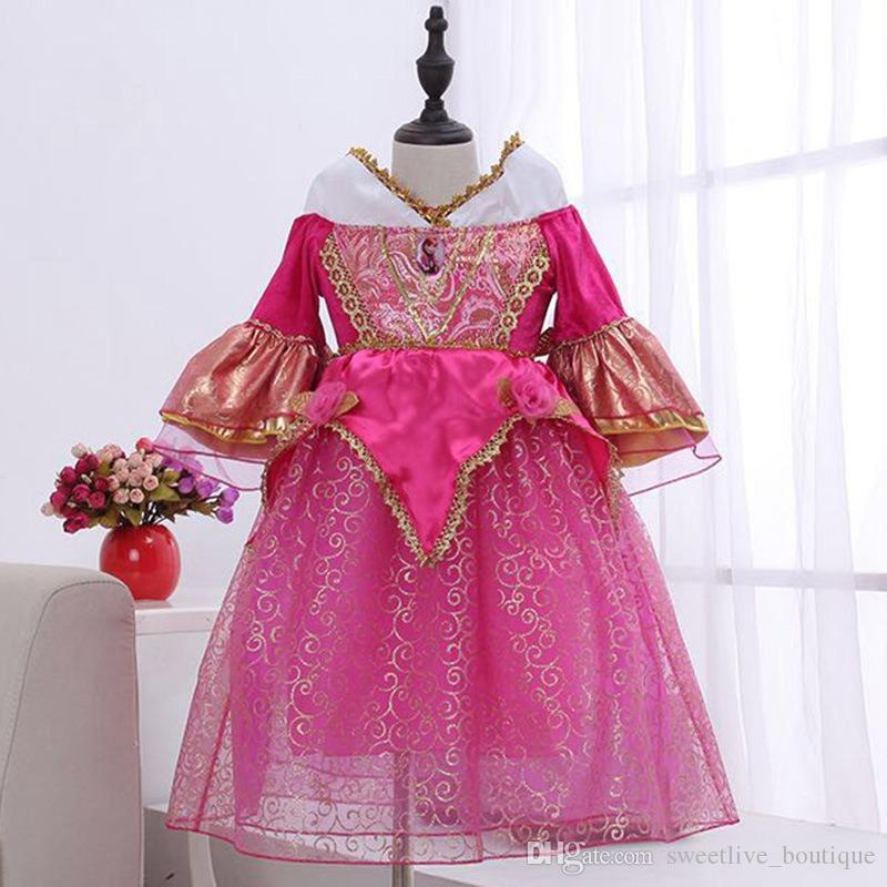 Девушки спальные красоты платья с Pearl Дети Хэллоуин Маленькая принцесса иро Косплей костюмы Дети карнавал платье партии детей Одежда