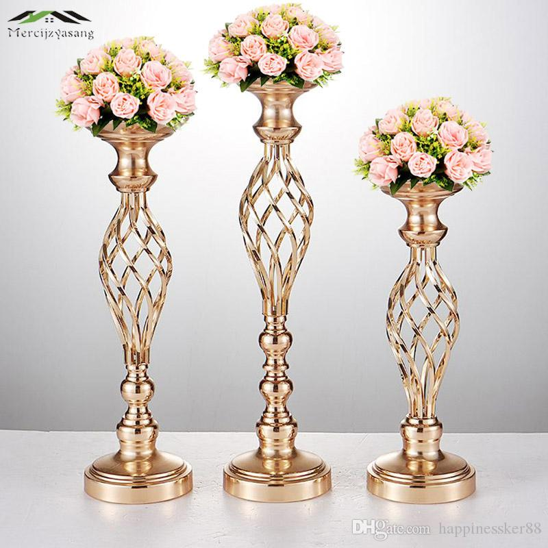10PCS/LOT Flowers Vases Candle Holders Road Lead Table Centerpiece Metal Gold Stand Pillar Candlestick For Wedding Candelabra