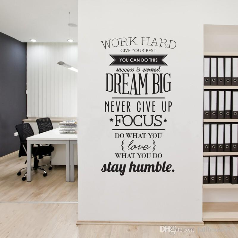 trabaje duro y cotice permanezca humilde calcomanía de la pared Letras diciendo Pegatinas de pared inspiradores para las paredes del hogar Oficinas 100 * 56 cm