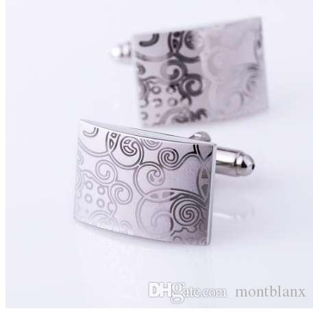 KFLK Joyas patrón láser camisa de plata gemelos para hombre Marca moda Gemelos botón venta al por mayor botón de alta calidad envío gratis