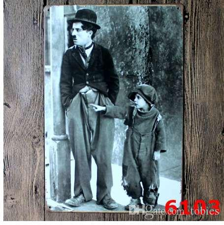 Famous Movie Star Charlie Chaplin Vintage Metal Painting Tin Sign Bar Pub Home Cafe Wallpaper Art Decor Mural Poster Metal Craft