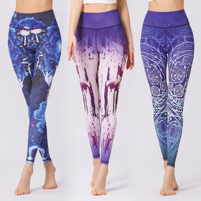 Kadınlar Ince Yoga Pantolon Baskılı Hızlı Kuru Spor Tayt Koşu Koşu Için Yüksek Bel Spor Salonu Tayt Kadın Pantolon XL