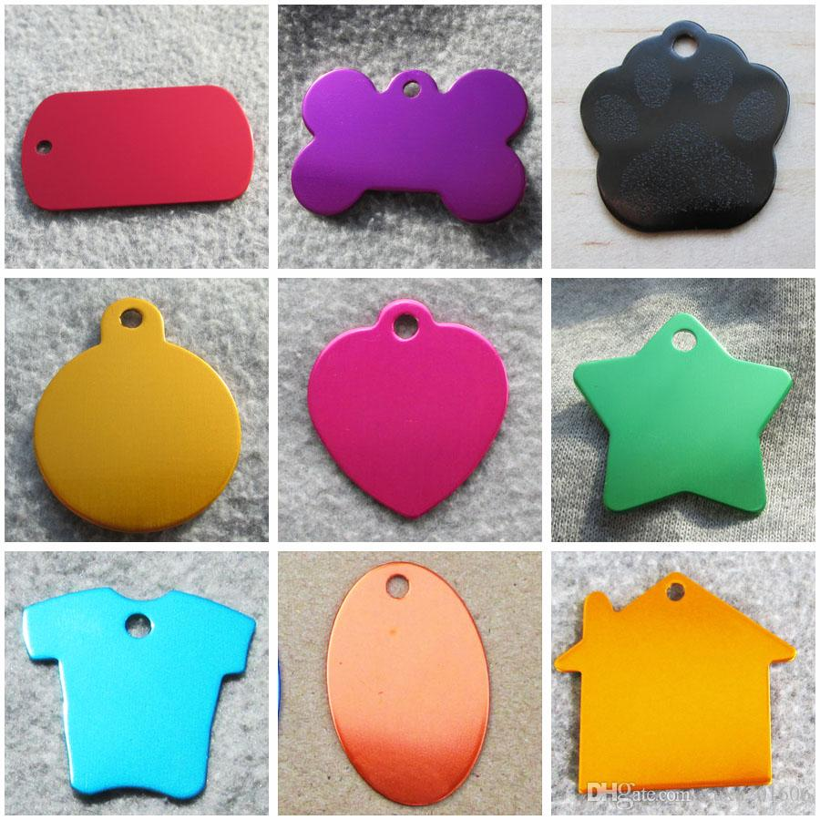 1000pcs/lot Aluminum Blank Pet Dog ID Tags Suitable for Laser Engraving Mixed Shapes Wholesale Available