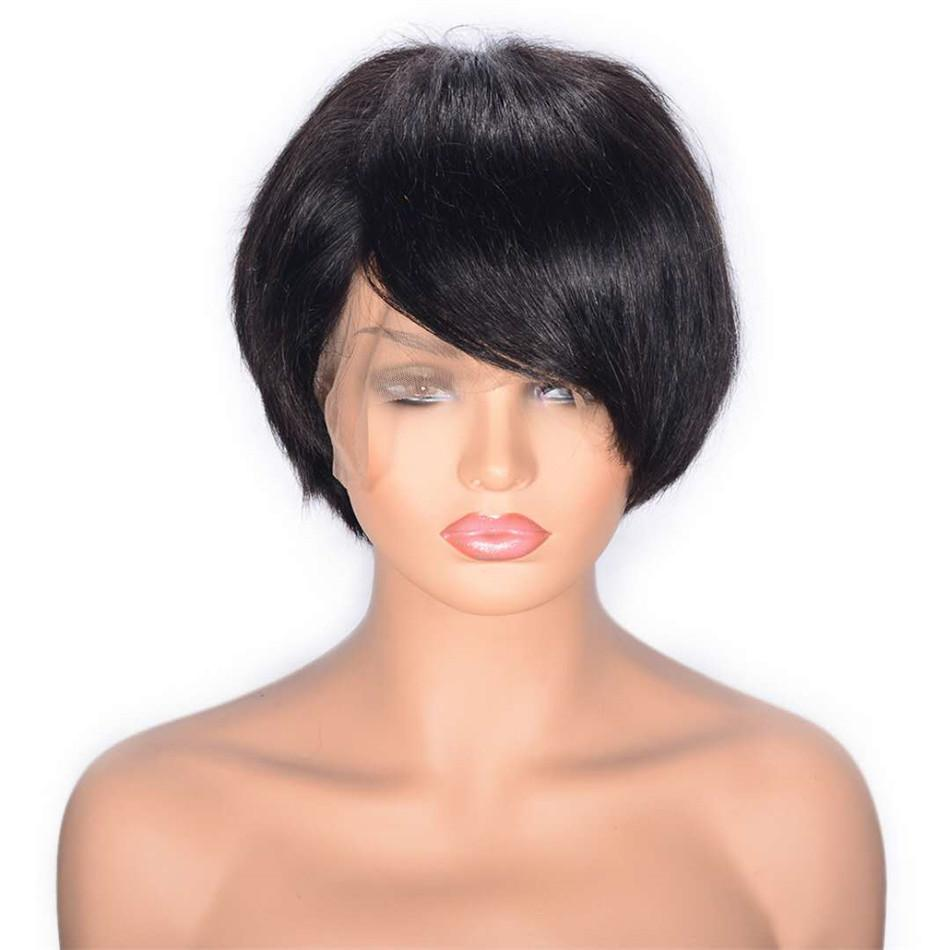 Короткие кружевные передний парик для женщин Высокое качество Безлистые Индийские прямые человеческие волосы парик швейцарских кружева 8 дюймов