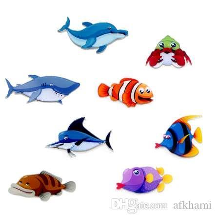 Fashion Home Decor Creative Cute Cartoon Animal Fridge Magnets Fish pattern high quality Acrylic Refrigerator Sticker wholesale