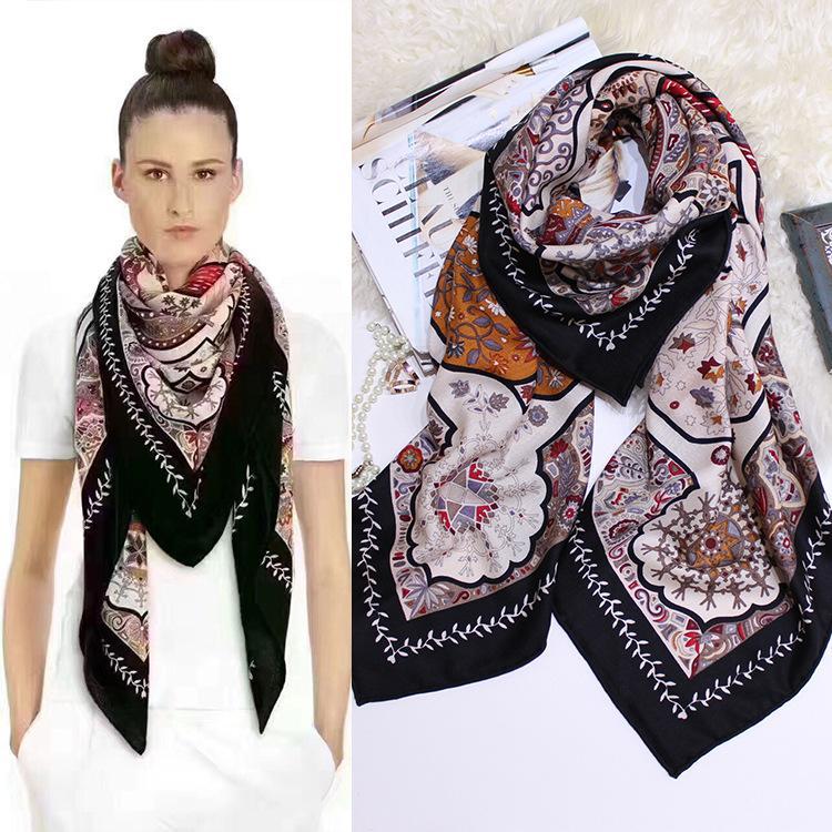 2018 mode oversize bohème palais porte plante imprimer foulard en soie cachemire 140cm grand châle carré peinture des femmes grande écharpe femme