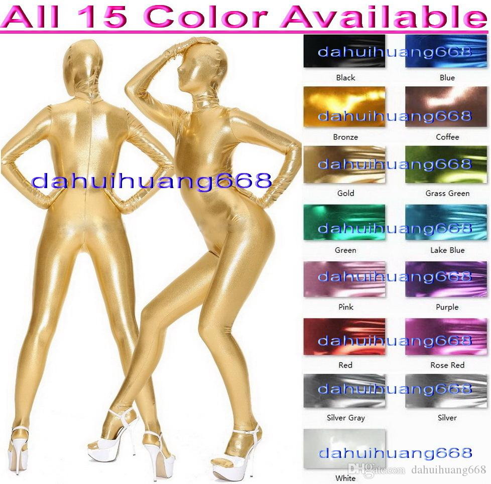 Unisex Full Bodysuit Costumes Outfit New 15 Color Shiny Metallic Suit Catsuit Costumes Unisex Sexy Body Suit Cosplay Costumes Outfit DH052