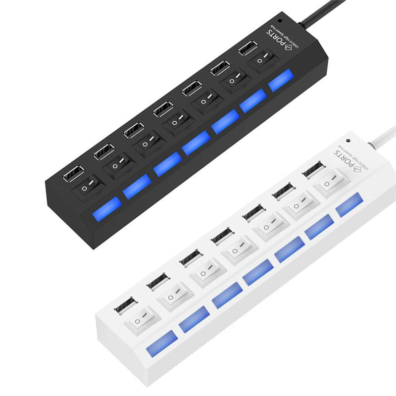 7 Port USB 2.0 HUB High Speed USB Splitter Adapter with LED Switch for Desktop Notebook Laptop