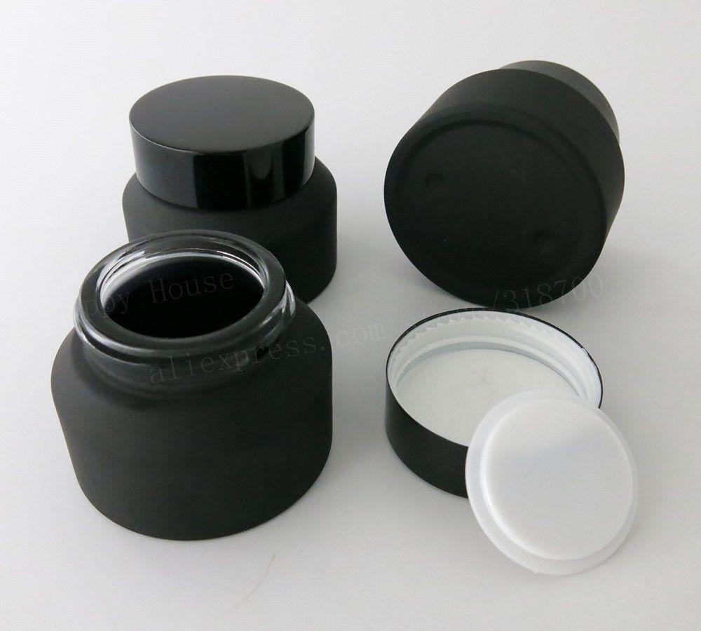12x15g 30g 50g Frost Preto Âmbar Creme De Vidro Jar Com Tampas Branco Selo Recipiente de Inserção Embalagens De Cosméticos Pote De Creme De Vidro