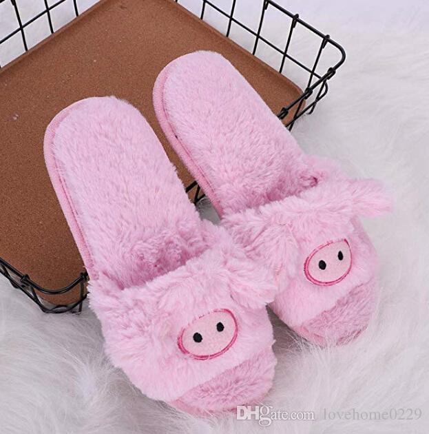 Pantoufles animales, pantoufles de femmes extérieures d'intérieur / souliers à la maison confortables de peluche / pantoufles mignonnes de filles moelleuses