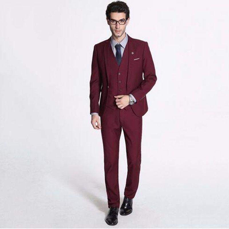 Burgundy Slim Fit Men Suits Wedding Tuxedos Cheap Three Pieces Business Mens Formal Wear Suit (Jacket+Vest+Pants)