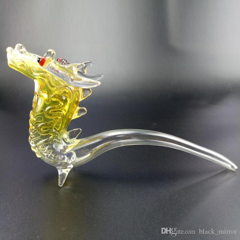 10 inches High Glass Animal Smoking Pipes Yellow Dragon Glass Hand Pipes Use For Tabacco Thick Glass Heady Pipes Mix Order