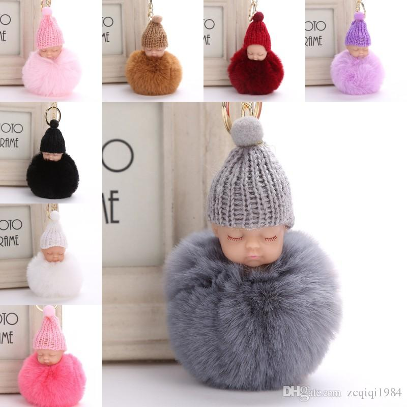 Sweet Fluffy Pompom Sleeping Baby Key Chain Faux Rabbit Fur Pom pon Knitted Hat Baby Doll Keychain Car Keyring Toy Trendy Gifts