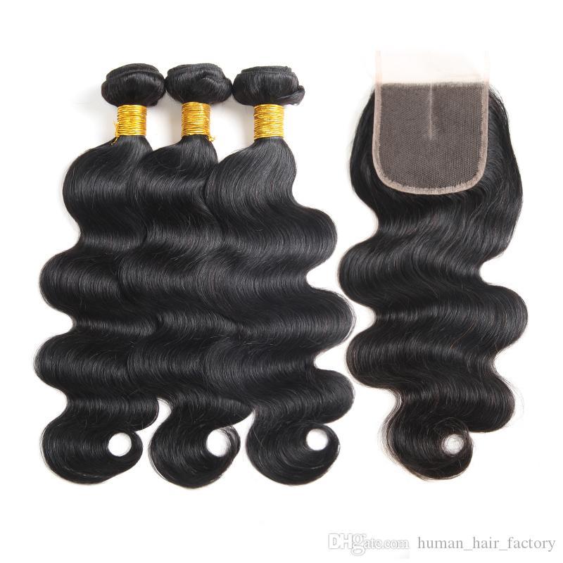 10A Visón Body Wave Virgin Hair 3 paquetes con cierre 100% sin procesar Paquetes de cabello humano virgen brasileño Extensiones y cierre brasileños