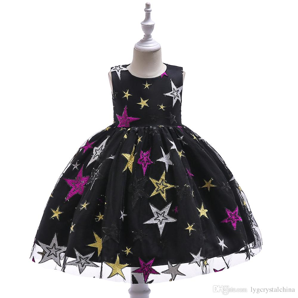 Новый стиль черное платье для детей Star вышитых принцессы бальное платье моды для детей на стадии износа производительности