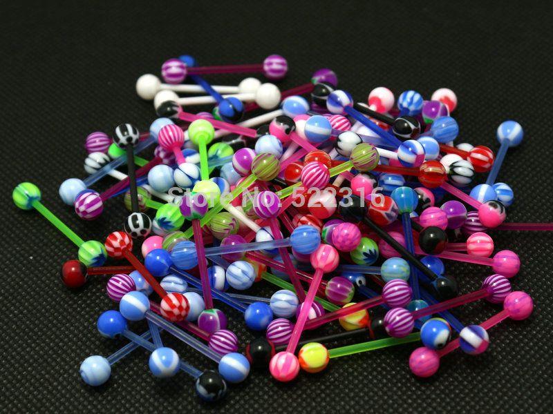 Język Pierścionki Mix Wzorniki Body Piercing Biżuteria Biollast Barbell Akrylowa 5mm Ball Hurtownie Biżuteria