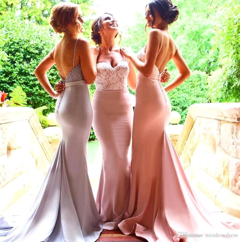 2018 correas espaguetis sirena de satén vestidos de dama de honor largos con encaje en la espalda baja barrido de tren invitado de boda vestido de noche largo de baile BA5487