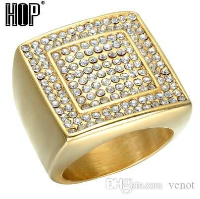 HIP Hop Micro Pave Rhinestone Iced Out Bling Big Square Ring IP Gold Filled Titanium Stainless Steel Ring para hombres joyas