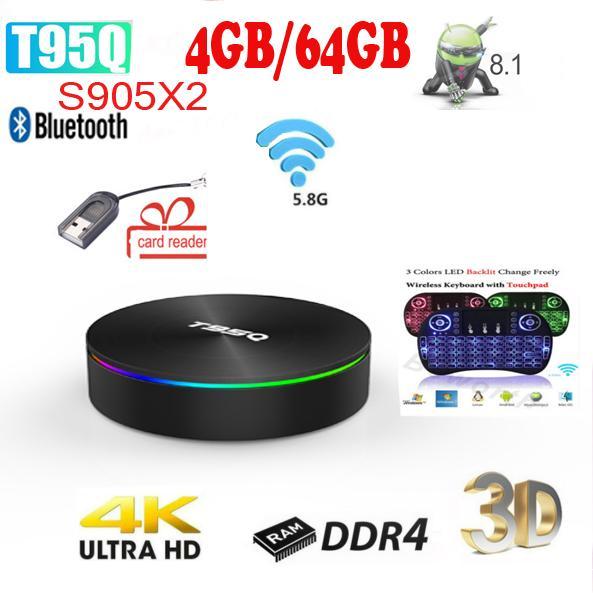 Amlogic S905X2 Android 8 1 TV BOX T95Q 4K Smart Media Player T95Q 4GB  32/64GB DDR4 Quad Core 1000M 2 4G&5GHz Dual Wifi PK X96MAX Tv Box Android