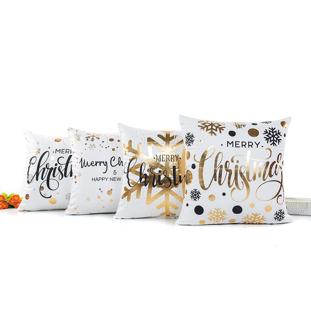 1 UNIDS 45 * 45 CM Feliz Navidad Cartas Cuadrado de Poliéster Throw Pillow Case Dorado Funda de Almohada Decoración para el hogar