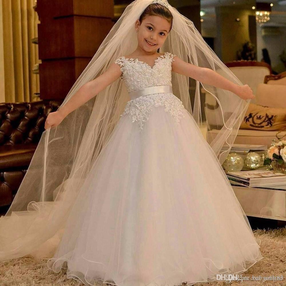 Royal Princess robes fille fleur blanche pour l'église Mariages Une ligne mancherons Appliqued Enfants formelle Communion Fête d'anniversaire Robes
