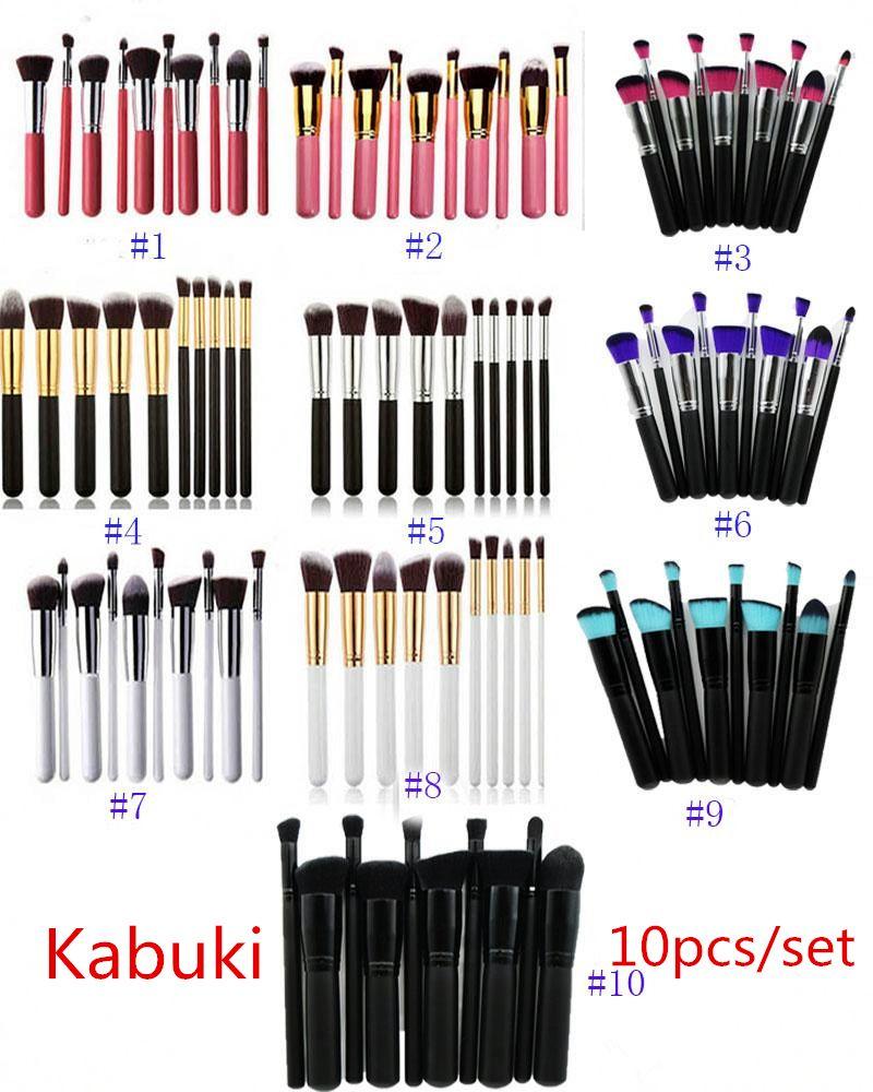 10 colors 10pcs Kabuki Professional Makeup Brushsets Tools 10pcs Make Up Full Cosmetic Brush Eyeshadow Lip Face Powder BrushSets Free DHL