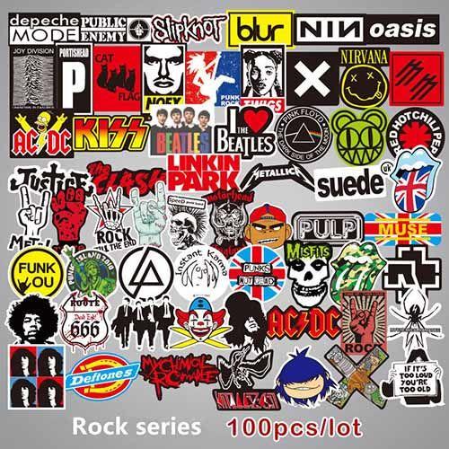 100pcs Rock and Roll Music Band Punk Guitare Sticker citrouille fantôme Planche à roulettes Auto Moto Vélo Luggage ordinateur portable Bumper Stickers muraux Pac