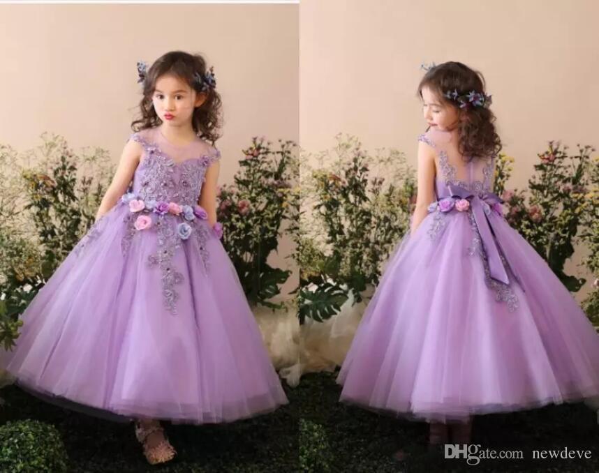 Roxo Bow Flower Girls 'Vestidos Jewel vestido de Baile Tornozelo Comprimento Feito À Mão Flor Tulle Bonito Applique Crianças Formal Wear