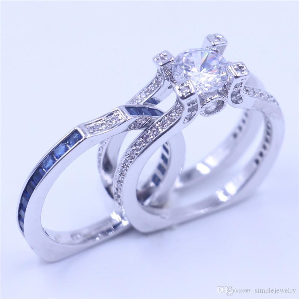 Victoria Wick Luksusowe kobiety Niebieski Birthstone Cyrkon CZ Ring 925 Sterling Silver Kobiety Zaręczyny Zespół Ślubny Pierścień SZ 5-11 Prezent