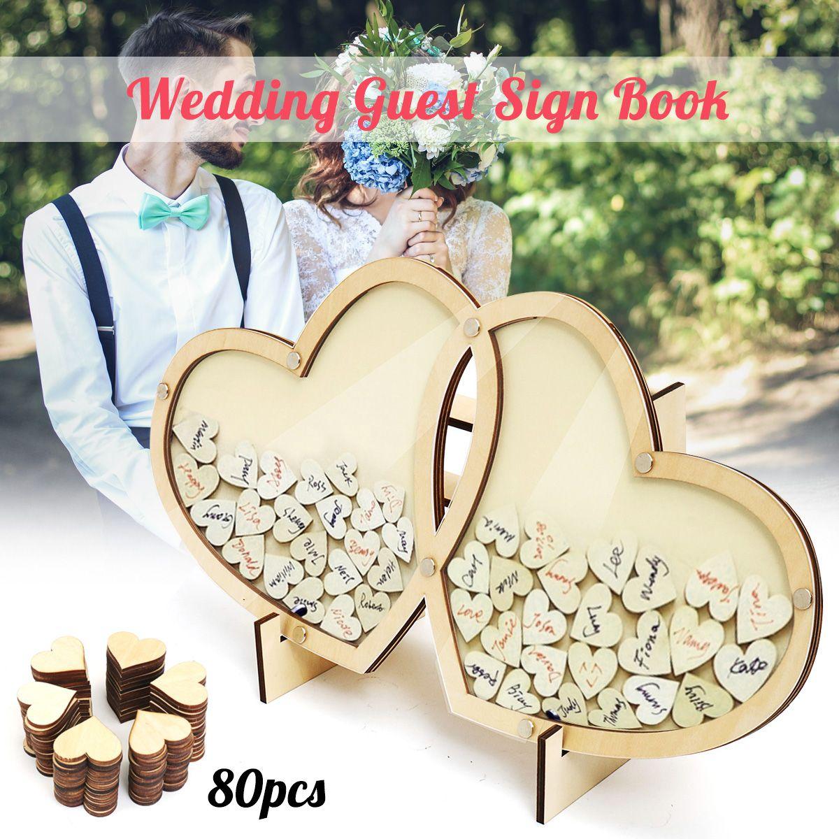 Personalized Hearts Wedding Guest Book Visit Signature Sign Book 3D Wooden Double-Heart Pendant Drop Ornaments Party Decoration
