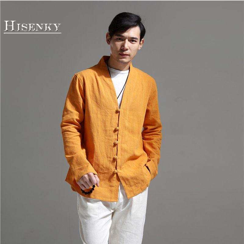 Hisenky 2018 Outono Camisa Dos Homens Manga Comprida Sólida Blusa de Linho Chinês Tradicional Tops Étnica Do Vintage Casacos Com Decote Em V Jaquetas De Linho