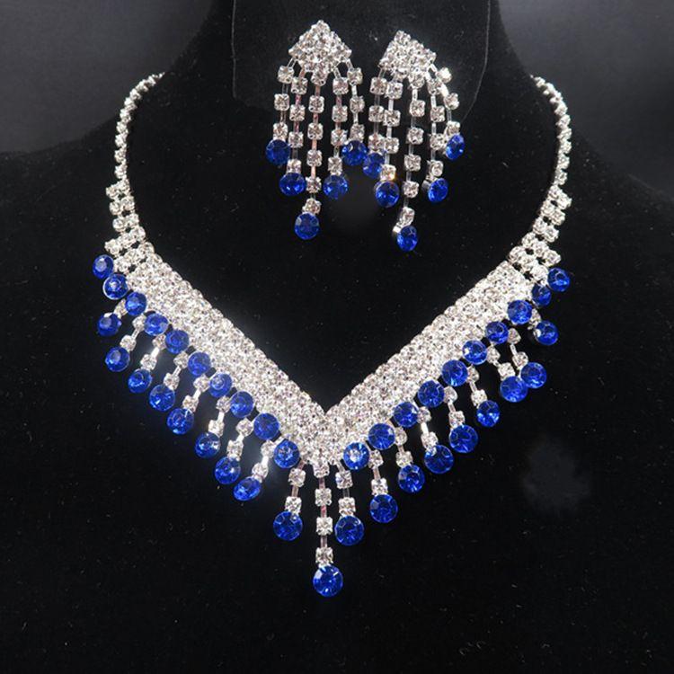 YT040 Высокое Качество Настоящее Изображение Ожерелье Набор Мода Сплава Свадебное Ожерелье Синий Горный Хрусталь Ожерелье Набор Хрустальные Ювелирные Наборы для Невест