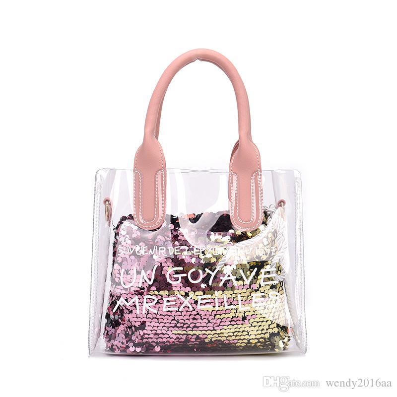 Women Fashion Transparent Sequin PVC Open Composite Bag 4Colors Girl Cross body Shoulder Bag