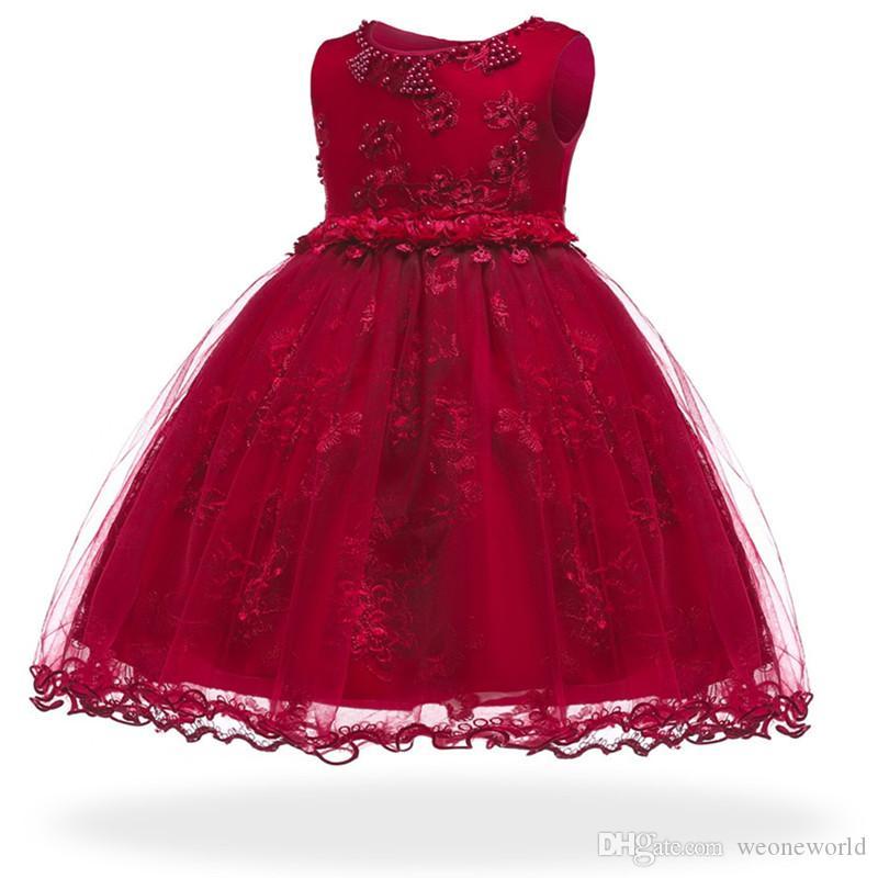 Baby Girl Dress for baptism 3-24M Baby Girls Dresses Vestido Pearl Flower Sleeveless Birthday Tutu Princess Dress
