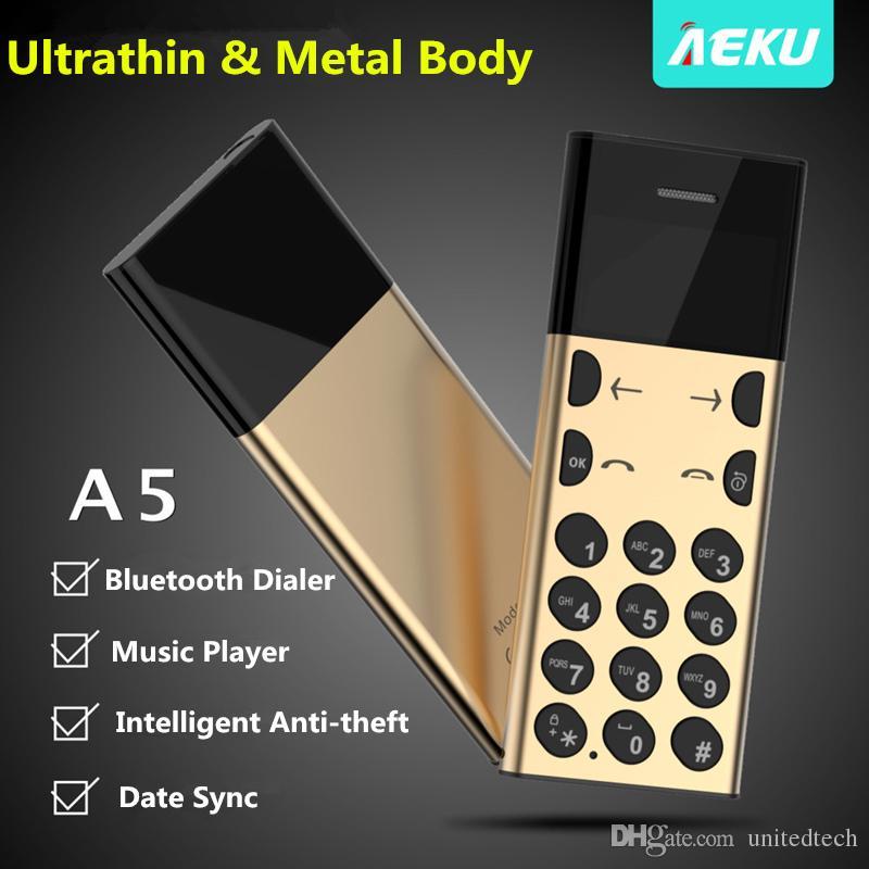 unlocked original AEKU A5 bluetooth 3.0 GSM mobile cell phone bluetooth dialer Music Playe Intelligent Anti-theft Metal body mini cellphone