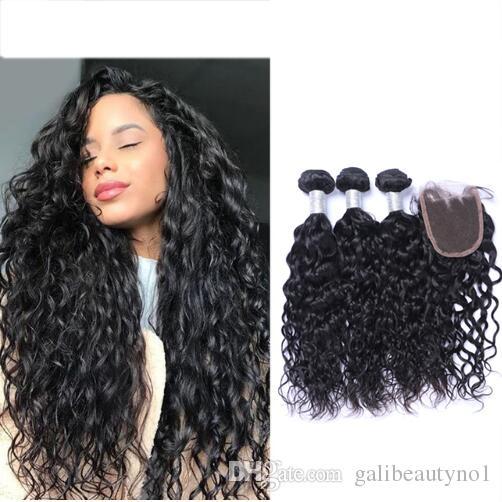 البرازيلي الطبيعية موجة عذراء الشعر 3 حزم + الرباط اختتام غير المجهزة بيرو الماليزي الهندي الإنسان الشعر الساخن بيع