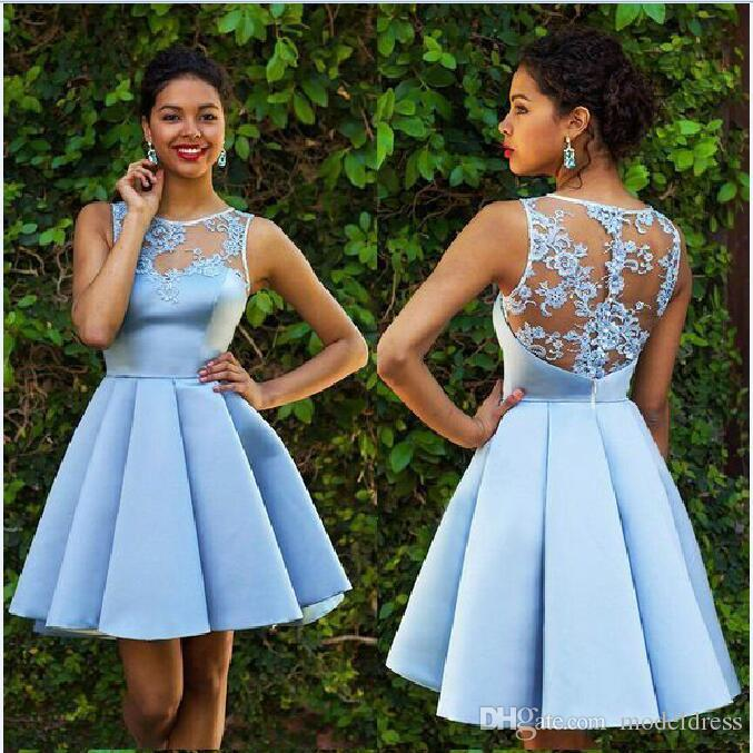 Light Blue Homecoming Dresses See Through Sexy Back Lace Satin Sheer Neck Girls Party Dresses for Graduations 2018 New Arrival Formal