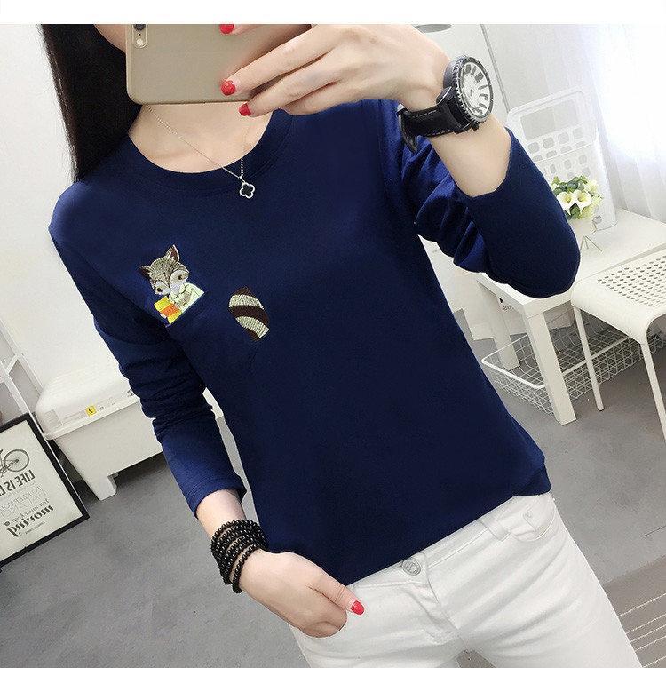 Embroidery T-shirts Women Tshirt O-neck Long Sleeve T-shirts Women Autumn Tops Tee Shirt Femme 2019 Cotton Camisetas Large Size (11)