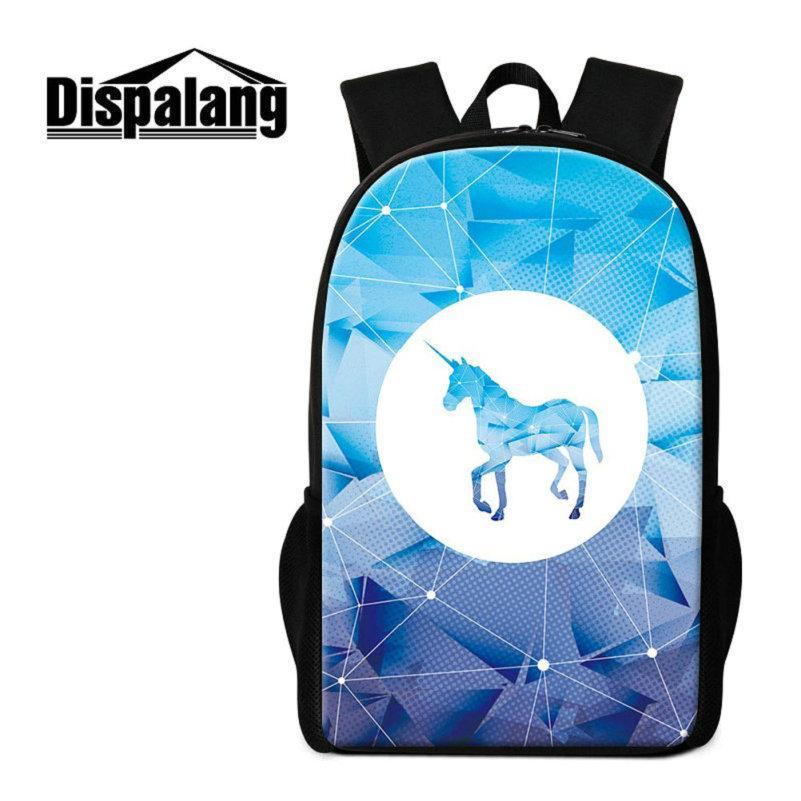 Diamond Geometric Pattern School Bags Bookbags For Teenage Girls Unicorn Print Backpack For Children Women Travel Shoulder Bagpacks Mochilas