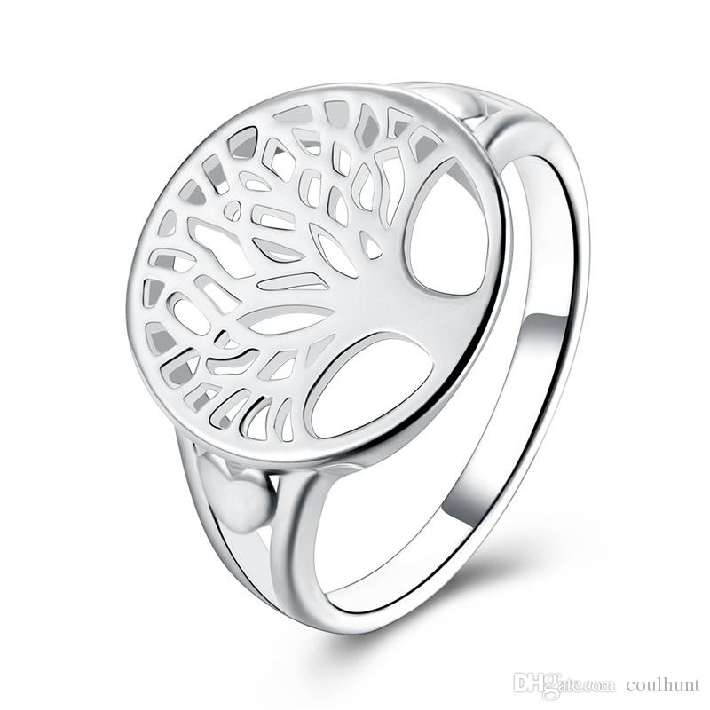 2019 New Tree of Life Ring Classic Accessories Jewelry Silver Rlated Wedding Rings For Women Piercing Life of Tree Engagement Ring